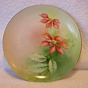 SALE Awesome Ginori Italian Porcelain Cabinet Plate~ Hand Painted with Red Poinsettias ~Artist