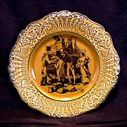 "SALE Attractive English Cabinet Plate ~ Coaching Days with Raised Relief Edge ""Filling th"