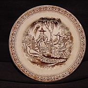 SALE Awesome Dark Brown Aesthetic Transfer Ware Plate with Chinese Gentlemen and Peacock ~ 188
