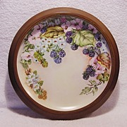 """SALE Exquisite 12"""" Porcelain Charger Framed ~ Hand Painted with Blackberries, White Flowers"""