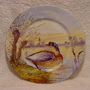 "SALE Gorgeous Limoges Porcelain Game Plate Hand Painted with Water Fowl By Artist ""MAX"" ~"