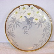 SALE Wonderful  Porcelain Cabinet Plate ~ Hand Painted with White Flowers ~ Signed By Limoges