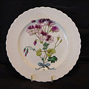 SALE Beautiful 128 Year Old English Cabinet Plate Burgundy and Pink Flowers ~ Minton England .