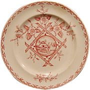 "SALE Stunning Old Red Aesthetic Transferware Plate with Water Wheel Scene ~ ""Alaska"" ..."