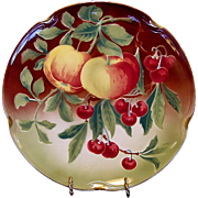 "SALE Wonderful  Majolica 12 ¼"" Charger with Apples and Cherries ~ KELLER & GUERIN - ca. ..."