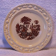 SALE Wonderful Staffordshire Cabinet Plate ~ Brown Scenic Transfer ~ Adam Titan Ware~ GRIMWADE