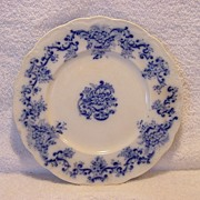 SALE Wonderful Old English Earthenware Flow Blue Plate with Cartouches and Flowers ~ ...