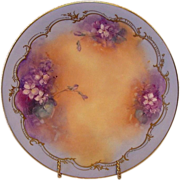"SALE Astonishing Limoges ART PLATE ~ PICKARD Hand Painted with Violets by artist ""Hahn""  ~"