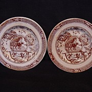 """SALE Two (2) Awesome English Aesthetic Child's Plates ~ Brown / Red Transferware ~ """"May .."""