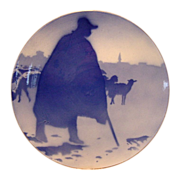 SALE Unique French Faience Cabinet Plate / Plaque ~ Shepherd and Sheep ~ Keller & Guerin ~ ...