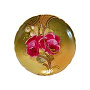 SALE Awesome Limoges Porcelain Cabinet Plate ~ Hand Painted with Red Roses and Gold Design ...