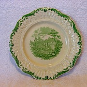 "SALE Exquisite English Ridgways Plate with Green Transfer ~ ""Tyrolean"" Pattern ~ William R"
