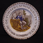 "SALE English Polychrome ABC (ALPHABET) Transferware Plate ""Robinson Crusoe With Pets"" ..."