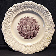 "SALE Beautiful English Mulberry Transferware Plate ""Oriental"" Pattern ~ Ridgways 1879 –"