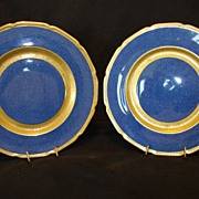 "SOLD 2~Beautiful Royal Doulton 10 1/2"" Plates Deep Midnight Blue Gold Embossed ~ Pattern H20"