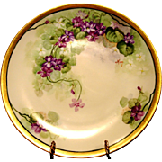 SALE Beautiful Limoges Porcelain Cabinet Plate ~ Hand Painted with Purple Violets by Artist ..