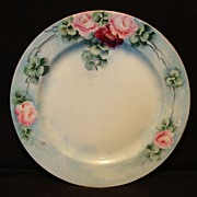 SALE Gorgeous Limoges Porcelain Cabinet Plate ~ Hand Painted with Pink & Red Roses ~ Haviland
