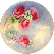SALE Wonderful Limoges Porcelain Cabinet Plate ~ Hand Painted with Red Roses ~ Artist Initiale