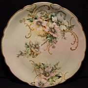 "SALE Amazing 12 ¾"" Limoges Porcelain Charger ~ Hand Painted with Wild Pink & White Roses .."