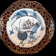 "SALE Awesome  English, Aesthetic Transferware 10"" Cake Plate  ~ "" Cairo Series"" ~ W.T"