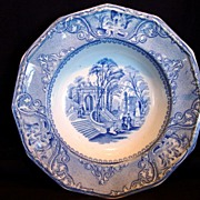 SALE Museum Quality 12 Sided English Aesthetic Transferware Serving Bowl ~ Blue & White Patras