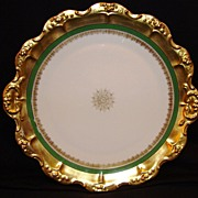 "SALE Wonderful Limoges Porcelain 12"" Charger  ~ Gold Rococo rim with Green Band & Snowflake"