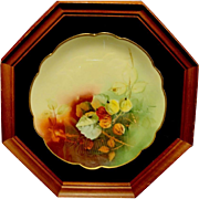 """SALE Amazing Bavarian Porcelain Plate in 8 sided 13"""" Shadowbox ~Hand Painted with the Aut"""