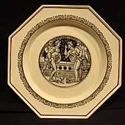 SALE Wonderful English Earthenware ~ 8 Sided Plate with Transfer of a Shakespeare Scene from R