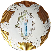 SALE Exquisite English Soft Porcelain Cabinet Plate ~ Hand Painted with a Beautiful Woman ~ ..