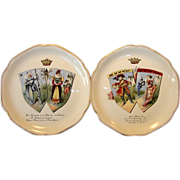 SALE Two Wonderful French China Portrait Plates ~ Monsieur De Malbrough & Don Quichette ~