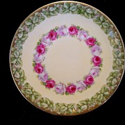 SALE Delightful Little German Porcelain Plate ~ Hand Painted with White and Red Roses ~ ...