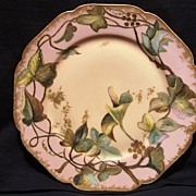 SALE Gorgeous Limoges Porcelain Cabinet Plate ~ 122 yrs Old~ Hand Painted with Green Leaves ..