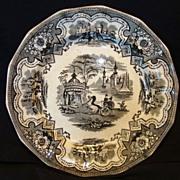 "SALE Wonderful English Transferware 14 sided 8 5/8"" Plate / Bowl ~ Damascus Pattern in ..."