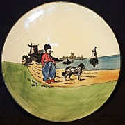 SALE Attractive German Plate With Dutch Scene of a Man and Dog ~ ZELL United Ceramic Factories