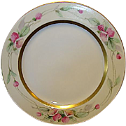 """SALE Beautiful Limoges Porcelain Plate ~ Hand Painted with Pink Flowers by Pickard Artist """"C"""