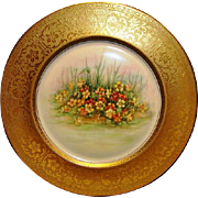 SALE PICKARD Bavarian Porcelain 10 7/8'' Gold Embossed Cabinet Plate with Nasturtium Floral De