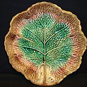 SALE Wonderful Old Majolica Leaf Plate in Fall Colors~ Unattributed