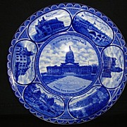 SALE Flow Blue Earthenware Souvenir Plate of Topeka Kansas ~ ROWLAND & MARSELLUS  Staffordshir