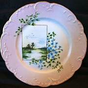 SALE Awesome Limoges Porcelain Cabinet Plate ~ Hand Painted with Blue Flowers and Marshland ..