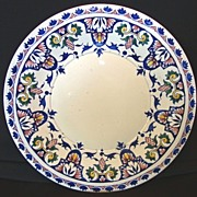 "SALE Beautiful 12"" Gien French Faience Charger ~ Hand Painted with Royal Blue, Red, Yellow a"