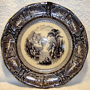 "SALE Beautiful 160 YR Old Black Mulberry English Transferware Plate 10 5/8"" ~SUSA Pattern"