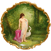 "SALE Exquisite 13 1/4"" Limoges Porcelain Plaque / Charger ~ Hand Painted with Nude Leda a"