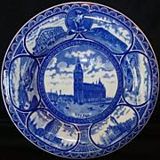 "SALE Fantastic Staffordshire Rolled Edge Souvenir Plate ~ ""Souvenir of Milwaukee Wis ~ City"