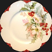 SALE Charming Limoges Porcelain Cabinet Plate ~ White Pink Flowers with Red Holly berries ~ ..