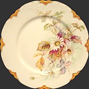 SALE Charming Limoges Porcelain Cabinet Plate ~ White Daisies and Magenta Leaves ~ Haviland &