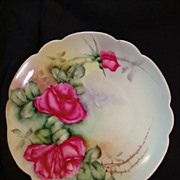 """SALE Exceptional Bavarian Porcelain Cabinet Plate ~ Hand Painted with Red Roses ~ Artist """" L"""