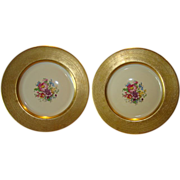 SALE TWO (2) PICKARD Porcelain 10 5/8'' Gold Embossed Cabinet Plates with Floral Design ...