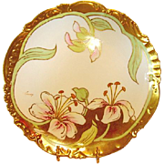 SALE Gorgeous Limoges Porcelain Cabinet Plate ~  Studio Decorated with Lilies and Gold ~ Artis