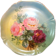"SALE Magnificent 14"" Limoges Porcelain Charger ~ Hand Painted with Pink & Magenta Roses ~ .."