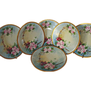 """SALE WONDERFUL Set of (6)  8 ½"""" Limoges Porcelain Plates ~ Hand Painted with Pink ..."""